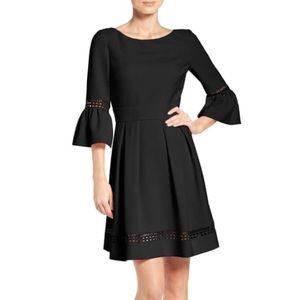 NWT Eliza J Black Bell Sleeve Laser Cut Mini Dress